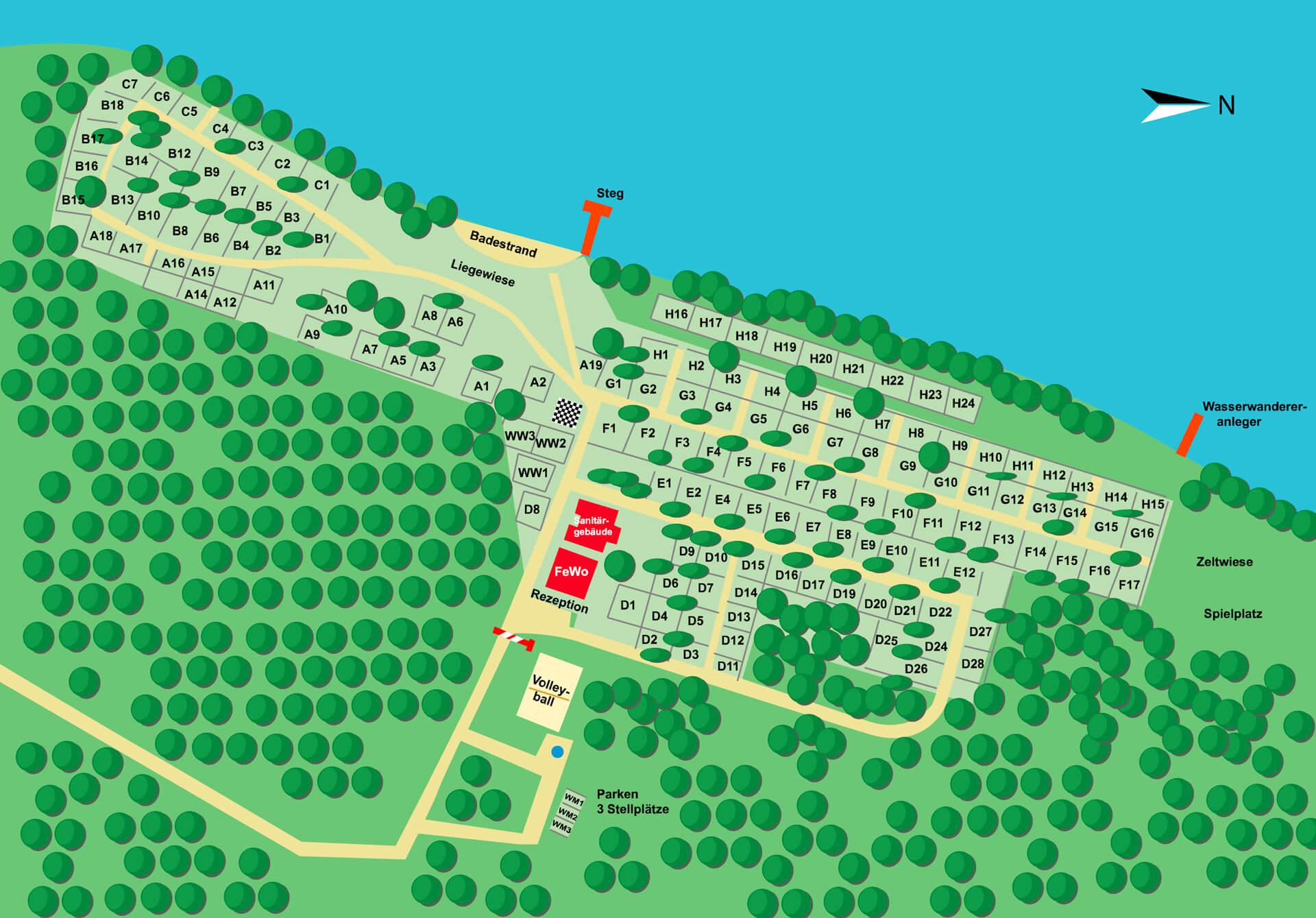 Unser Camping Platzplan 2018 mit allen Stellplätzen um den Rätzsee
