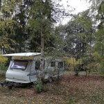Stellplatz Hobby Wohnwagen unter Bäumen am Rätzsee
